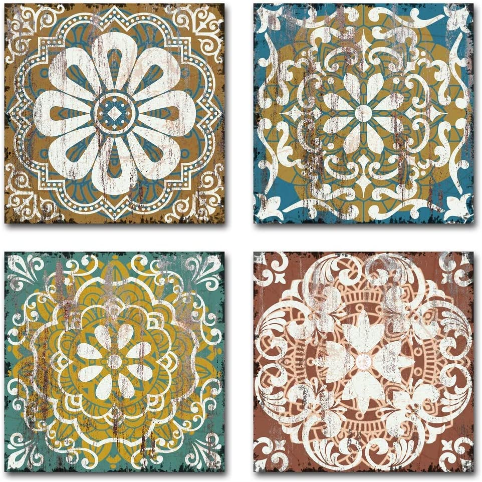 Yatehui Indigo Flower Pattern Canvas Prints Wall Art 4 Panel Mandala Pictures Ready to Hang Boho Paintings for Bathroom Bedroom 12x12 Inches