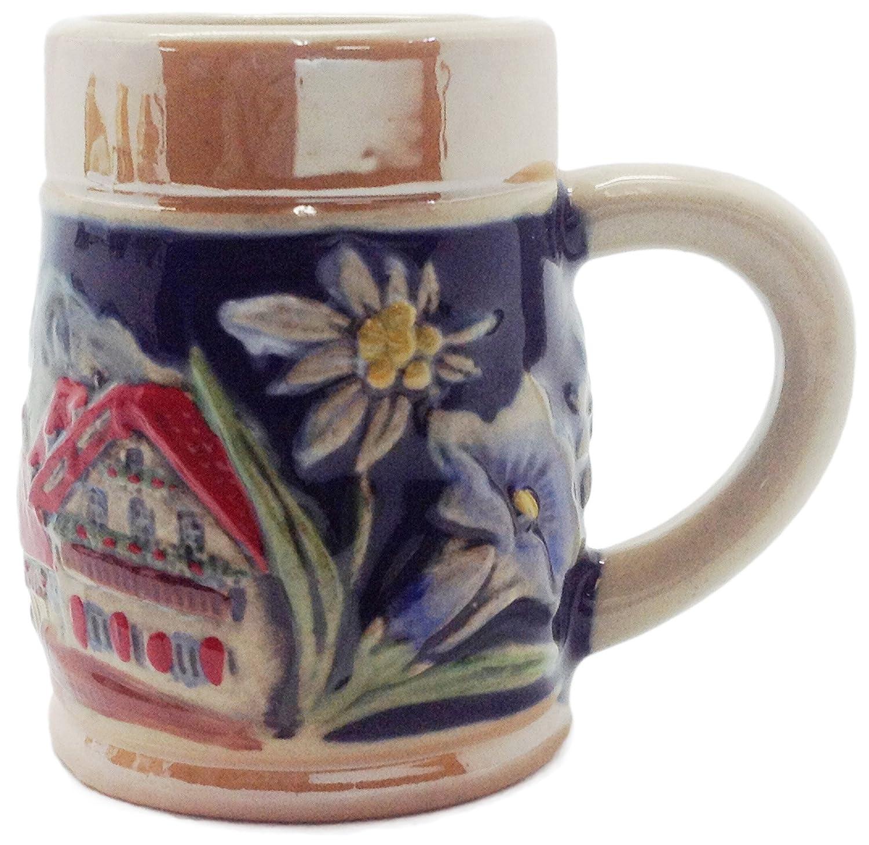 German Alpine Village Ceramic Beer Stein Shot Glass-2.5