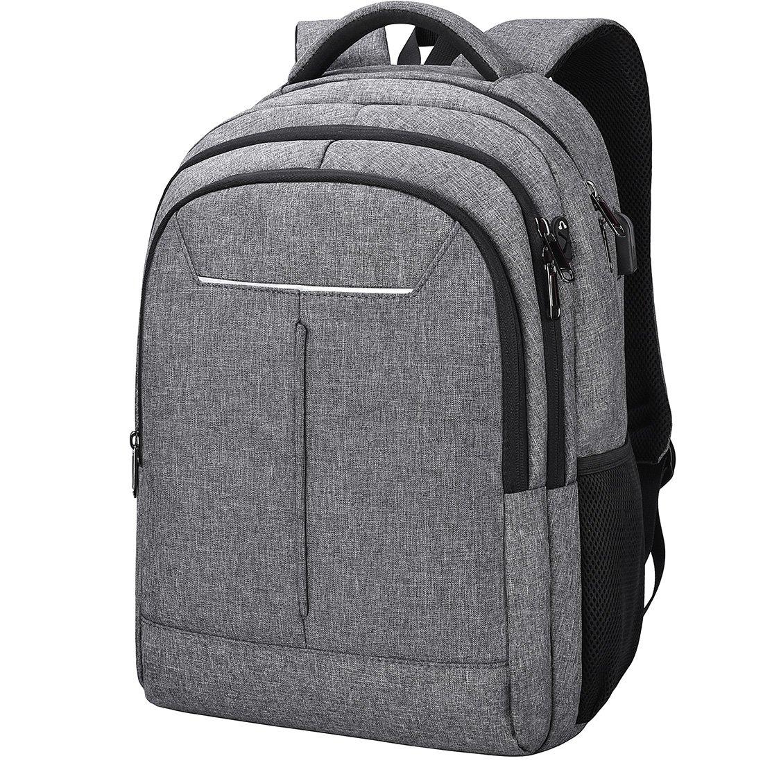 NEWHEY Sac à Dos Ordinateur Hommes 15.6 Pouces Imperméablet de Charge USB Port Grande Capacité Laptop d'affaires Sac Portable Voyage College Knapsack Gris NH8813grey