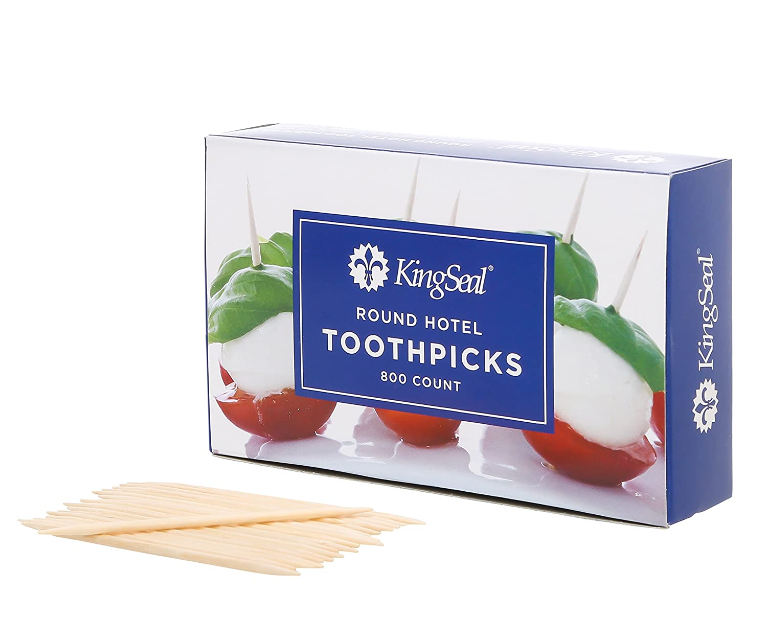KingSeal 2.5 Inch Wood Round Hotel Toothpicks, Double Point - 4 Boxes of 800 each (3,200pcs total)