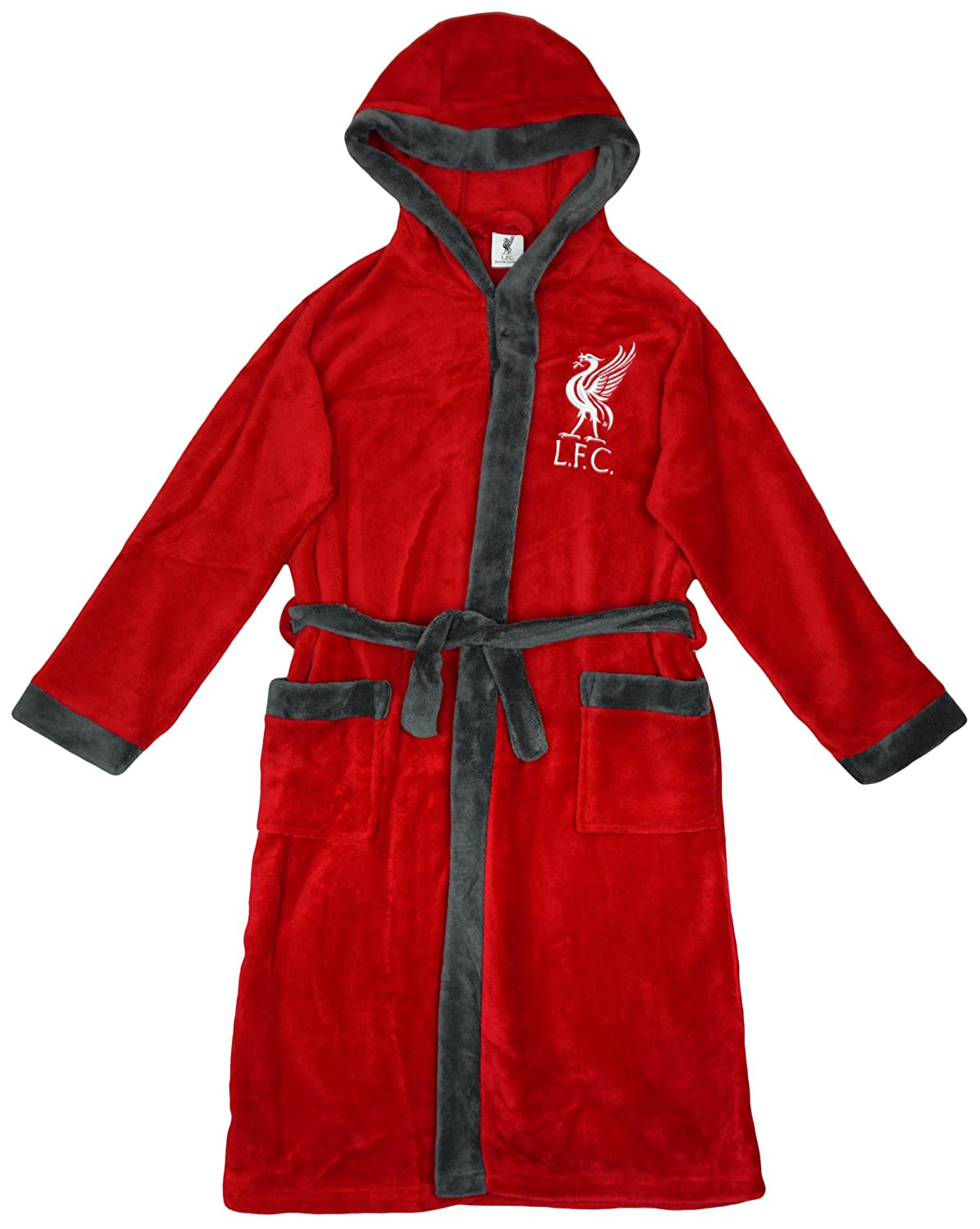 Boys Liverpool LFC Football Fleece Hooded Dressing Gown Bathrobe Sizes from 3 to 6 Years