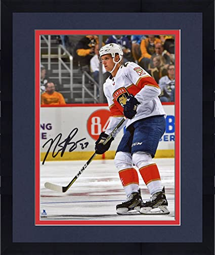 Framed Nick Bjugstad Florida Panthers Autographed 8 quot  x 10 quot  White  Jersey Skating Photograph - 12769e484