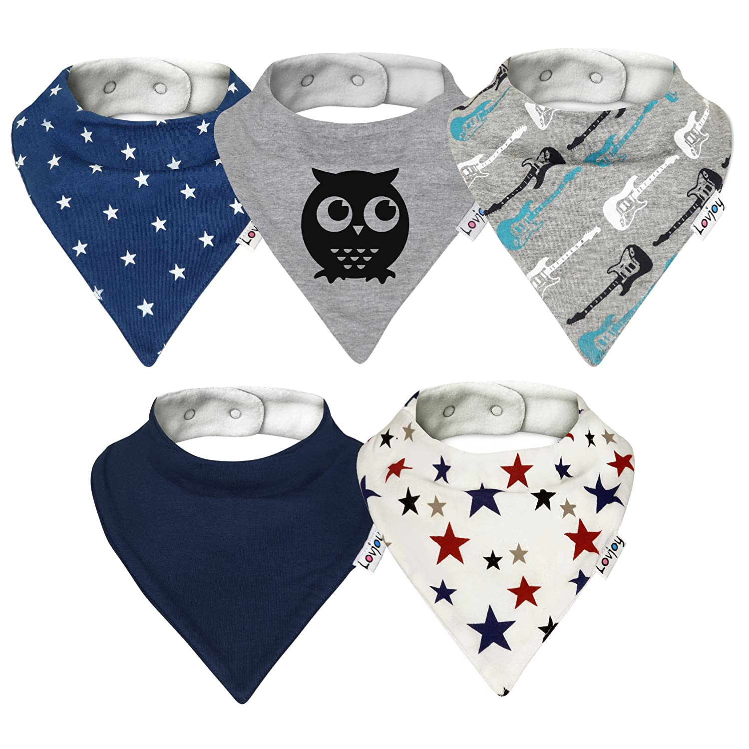 Lovjoy Bandana Dribble bibs, Super Absorbent & Soft for Teething Babies , Fits Newborn to 3 years, Adjustable Snaps, Best Baby Gift. 5 PACK (LITTLE STAR)