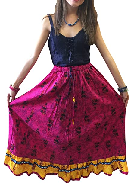 bc2071e07c Mogul Interior Womens Maxi Skirt Carnation Printed Pink Cotton Summer  Bellydance Flare Sexy Peasant Skirts S/M/L at Amazon Women's Clothing store: