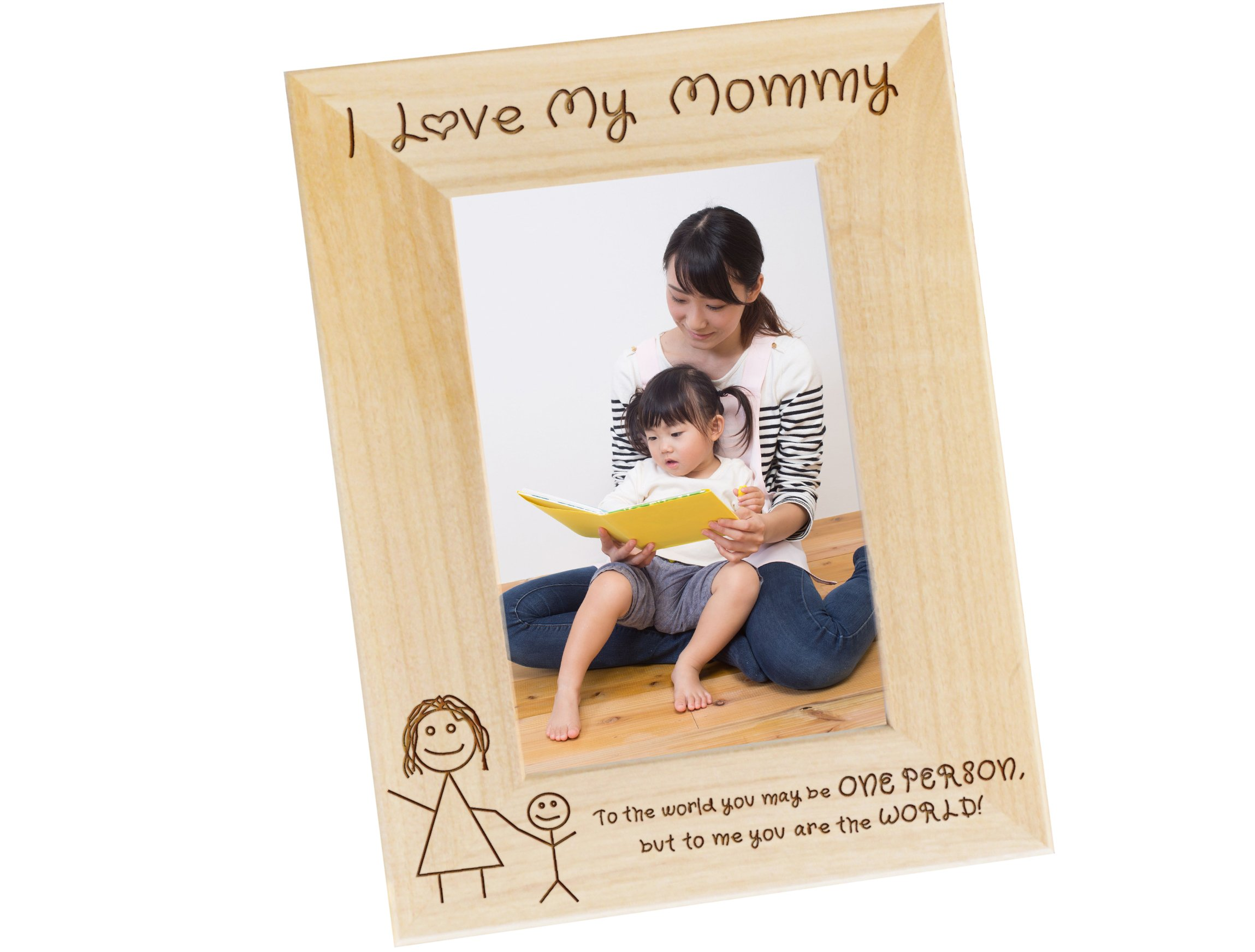 Frederick Engraving I Love My Mommy 4x6 Wood Photo Frame, Moms Birthday Present, Gifts for Mom From Kids, WF31 (4 x 6 - Vertical)