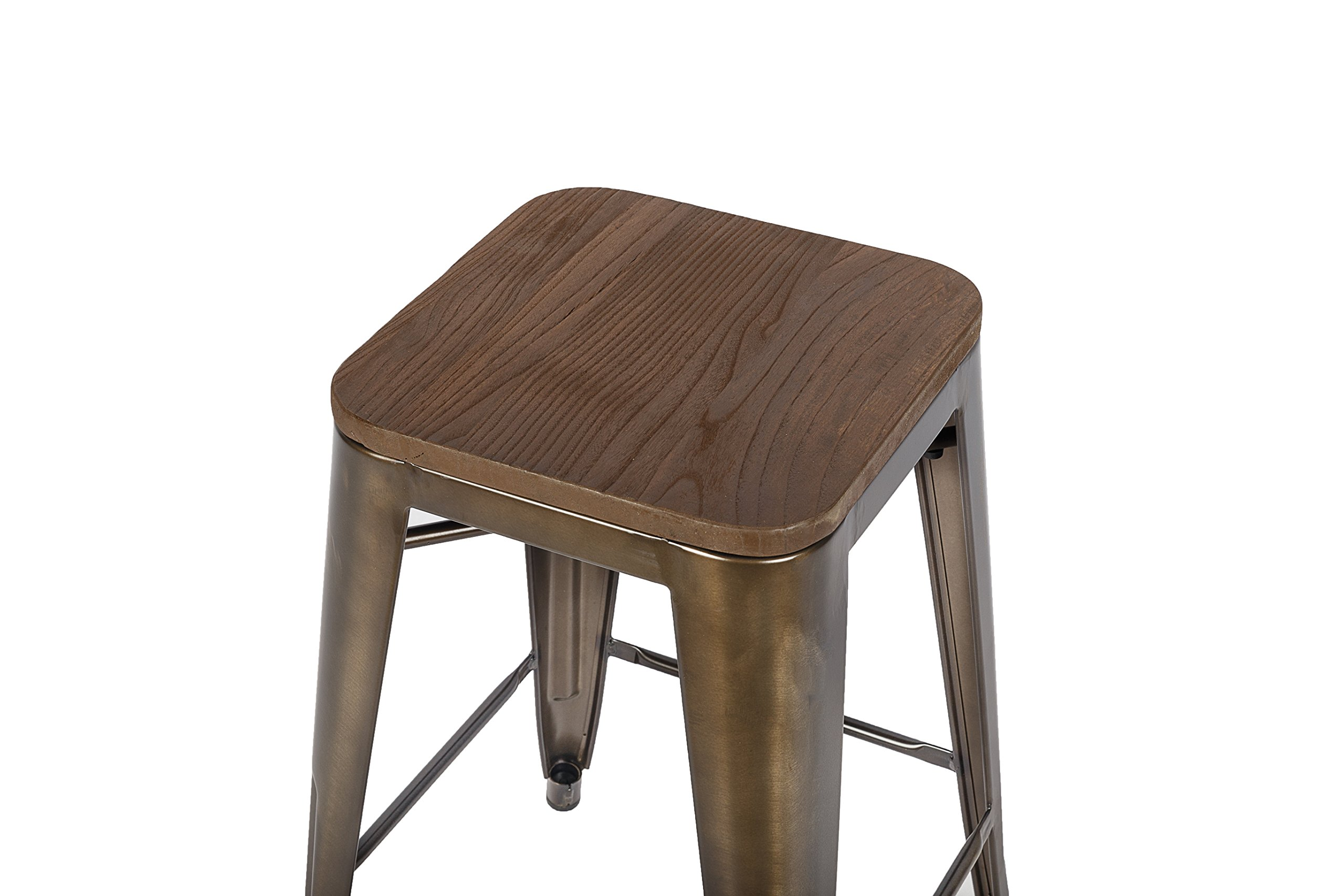 LCH 24 Inch Patio Metal Industrial Bar Stools, Set of 4 Indoor/Outdoor Counter Stackable Barstool with Wood Seat, 500 LB Limit, Antique Copper by LCH (Image #7)