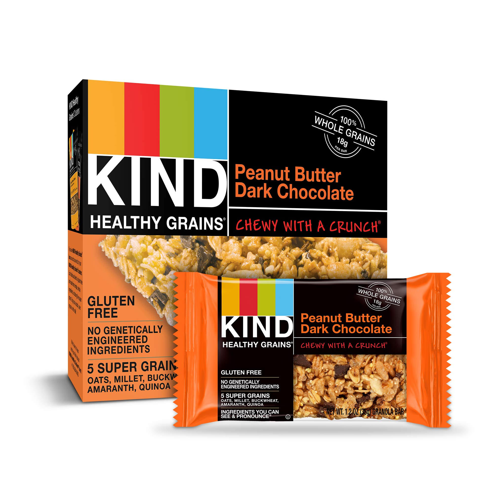 KIND Healthy Grains Granola Bars, Peanut Butter Dark Chocolate, Gluten Free, 1.2 oz, 30 Count