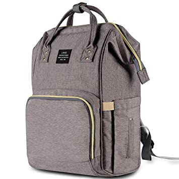 2b0b09896dc98 Amazon.com : HaloVa Diaper Bag Multi-Function Waterproof Travel Backpack  Nappy Bags for Baby Care, Large Capacity, Stylish and Durable, Gray : Baby