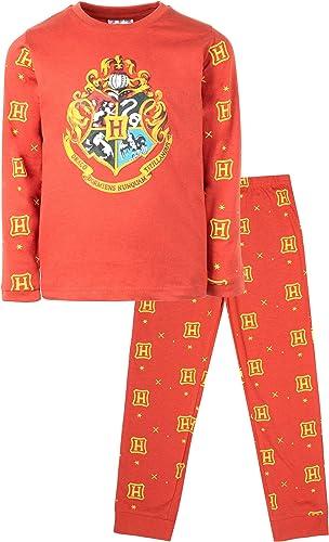 Pijama oficial de Harry Potter   Disponible para edades de 5 a 14 años   Pijama de manga larga   Disfraz de 100 % algodón   Regalo para niños y niñas
