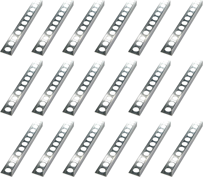 Hauteur: 6mm PR/ÉMIUM profil/é pour carrelage /équerre aluminium naturel 125 M/ÉTRE rail de 250cm mat/ériau de 1 mm