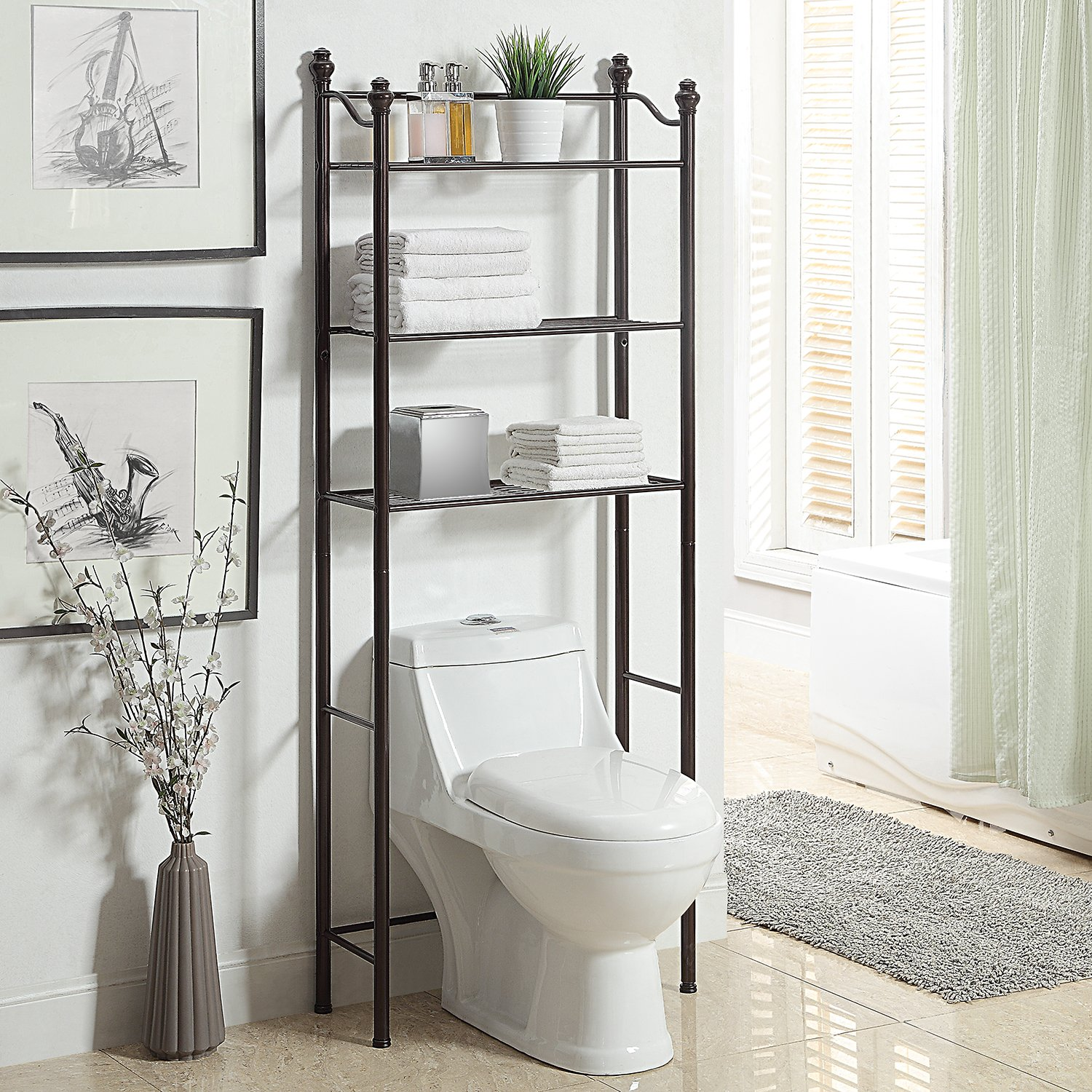 Organize It All 3 Tier Over The Toilet Bathroom Storage Space Saver - Oil Rubbed Bronze