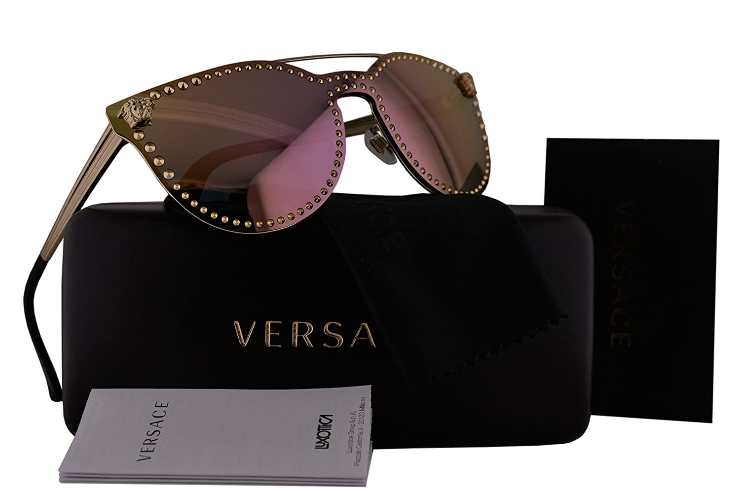8d8bf5dcad Versace VE2177 Sunglasses Pale Gold w Gray Mirror Pink Lens 12524Z VE 2177   Amazon.co.uk  Clothing