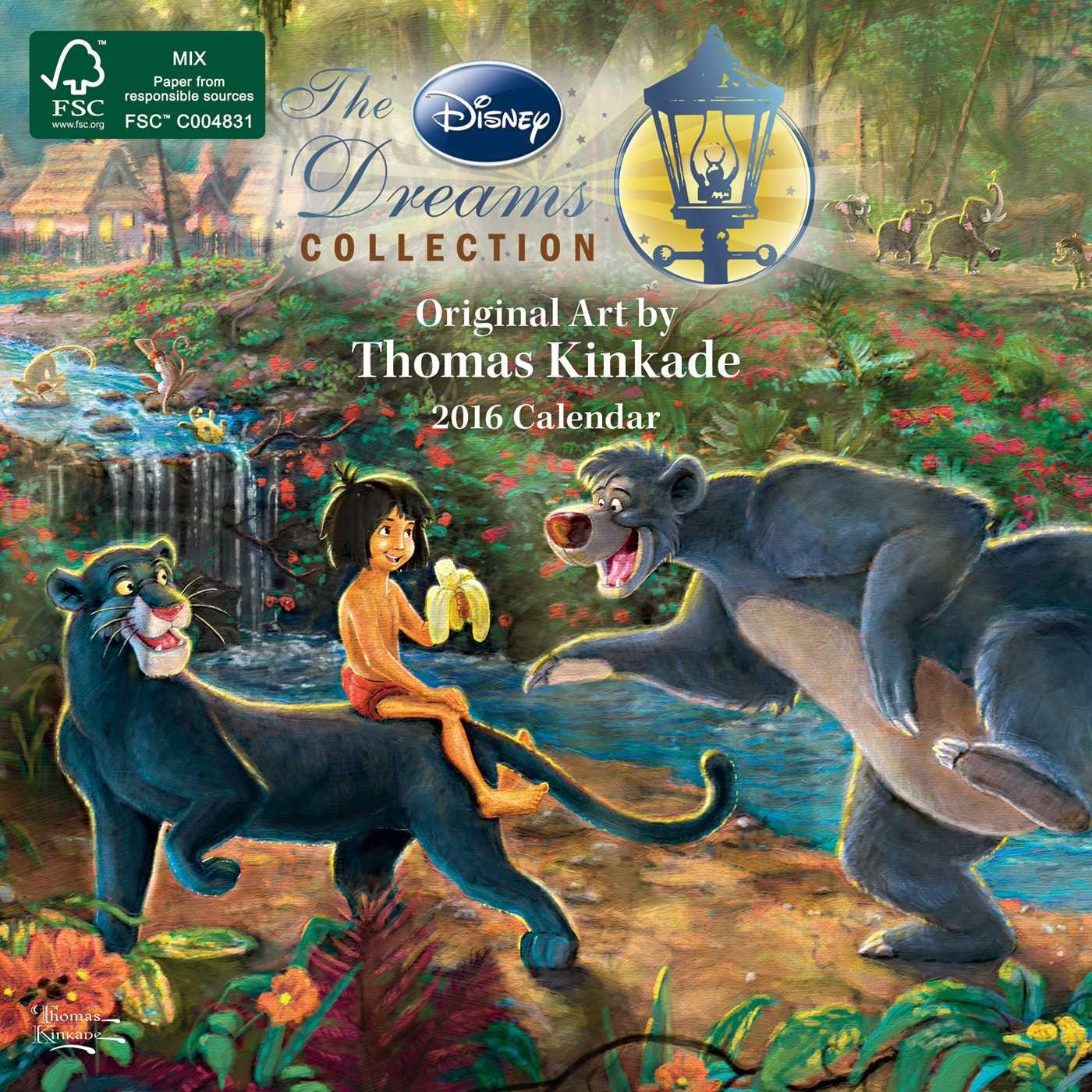 Thomas Kinkade  The Disney Dreams Collection 2016 Mini Wall Calendar