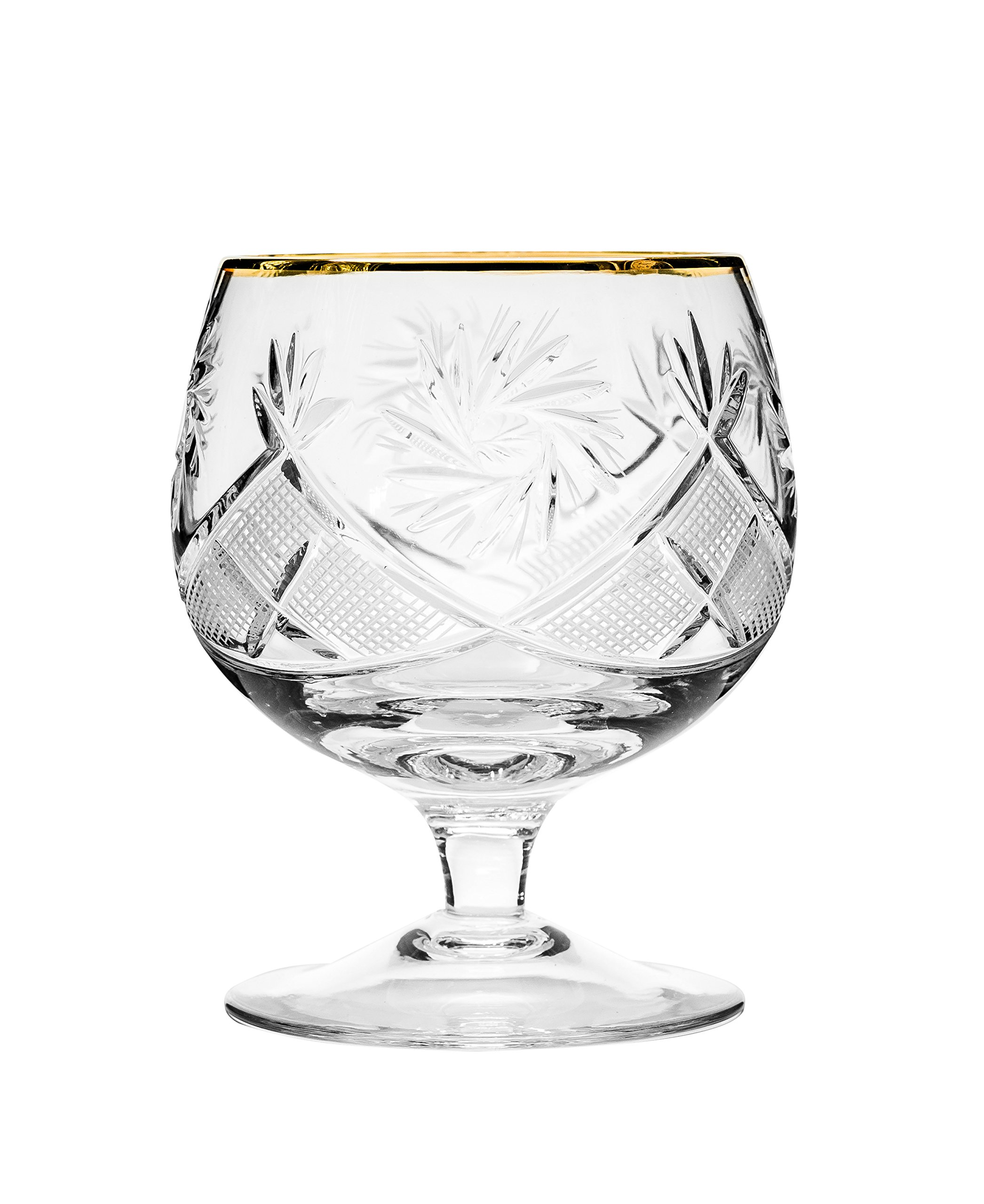 Neman GB5290G, 10 Oz. Crystal Hand-Made Brandy Glasses with Gold Rim, 24K Gold-Plated Scotch Whiskey Cut Crystal Snifters on a Stem, Wedding Drinkware, Set of 6