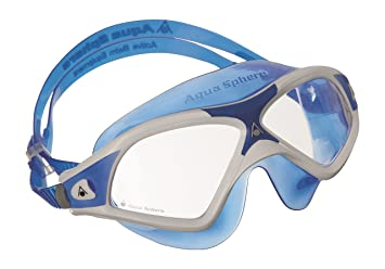 3fefea926649 Aqua Sphere Unisex s Seal XP2 Swimming Mask with Clear Lens-White Blue