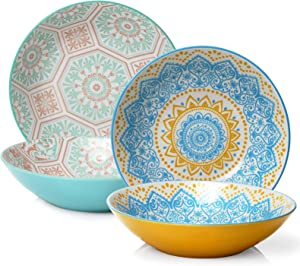 "ZONESUM 9"" Pasta Bowls - 40 oz Large Pasta Serving Bowls, Serving Plates and Bowls for Christmas, Ceramic Salad Bowl, Wide and Shallow, Microwave & Dishwasher Safe, Set of 4, Colorful"