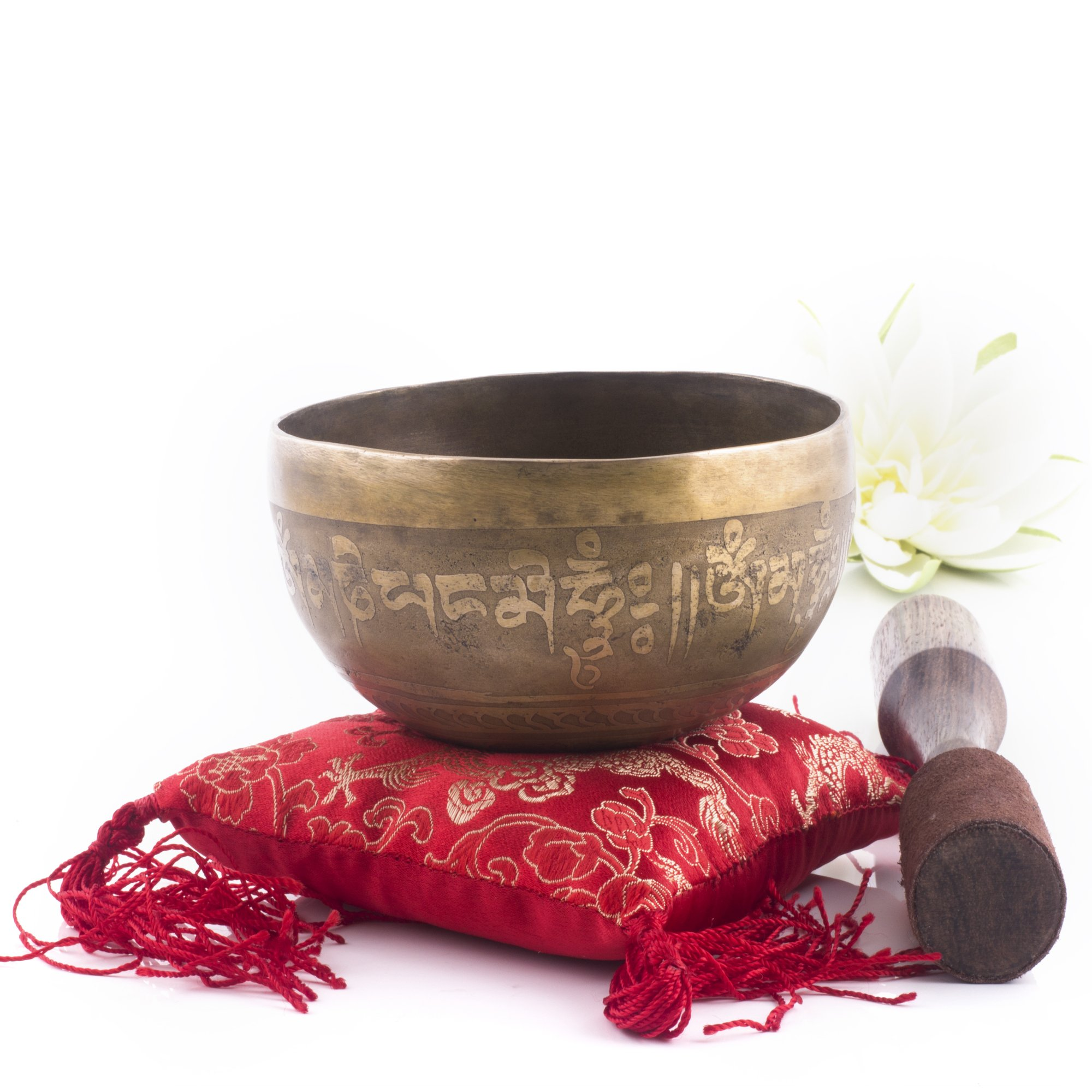 Silent Mind ~ Hand Hammered B Crown Chakra Tibetan Singing Bowl Set ~ For Chakra Healing, Prayer,Yoga, and Mindfulness ~ Lotus Flower Mallet & Cushion ~ Handmade In Nepal ~ Perfect Gift by Silent Mind