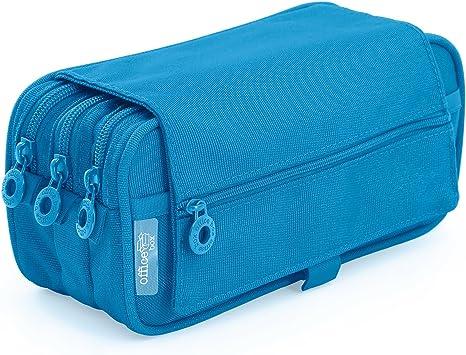 Estuche Portatodo Triple de Amplios Apartados Interiores con Cierre de Cremallera Individual (Azul Claro): Amazon.es: Oficina y papelería