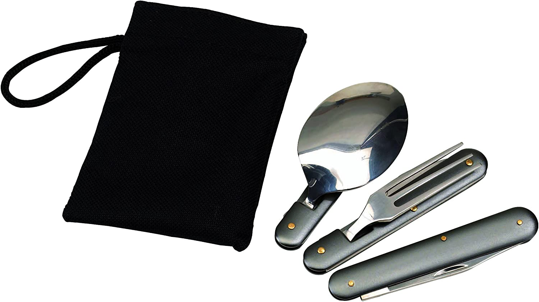 Couverts pliables en acier inoxydable avec étui Cuillère Fourchette Couteau Décapsuleur et Ouvre-boîte Pour le camping et lextérieur