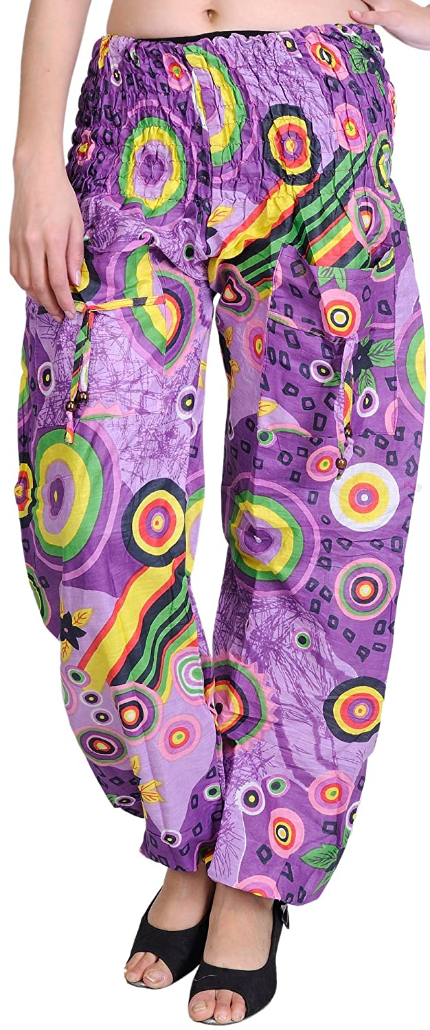 Exotic India Dewberry Printed Casual Trousers - Multi Color
