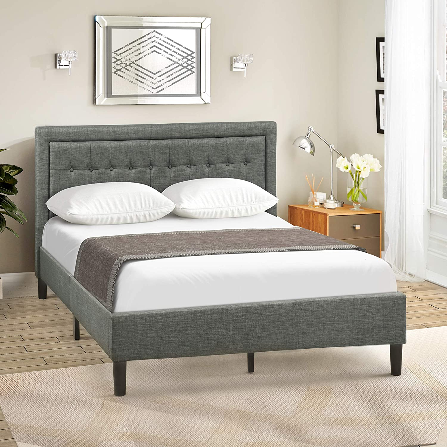 Merax Upholstered Button Tufted Platform Bed with Strong Wood Slat Support Grey-Green, Queen