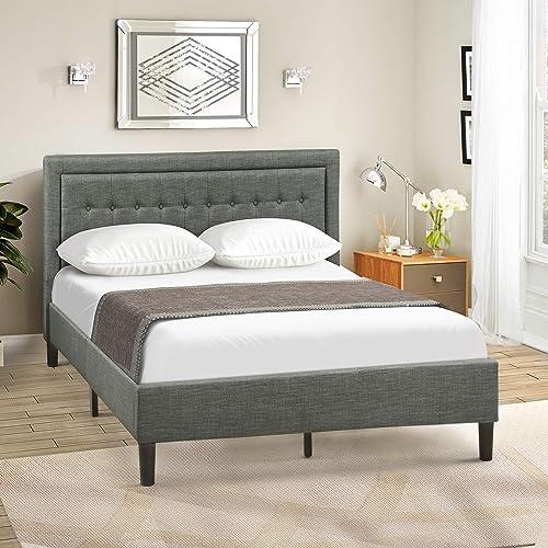 Civil Furniture Upholstered Upholstered Platform Bed Frame Diamond Stitched Platform Bed Queen, Gray