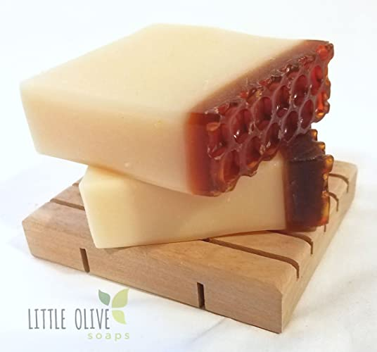 Honey Almond Handmade Soap | Homemade | Handcrafted Soap | Coconut Oil |  Gift for Her | Shea Butter | Beehive | Honeycomb | FREE SOAP DISH