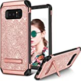 Galaxy Note 8 Case, BENTOBEN Bling Glitter Samsung Note 8 Case 2 in 1 Slim Hybrid TPU Bumper Hard PC Cover Coat Sparkly Shiny Cute Faux Leather with Metal Kickstand for Samsung Galaxy Note8 Rose Gold