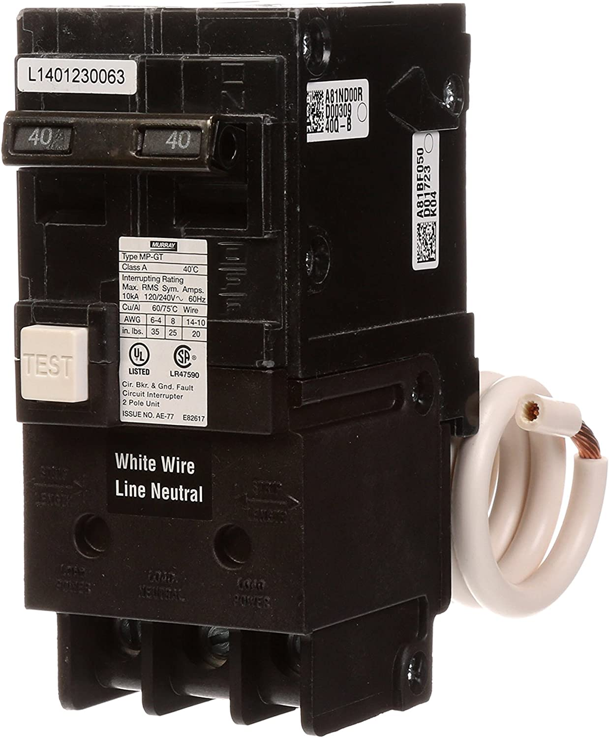Murray MP240GFA 40 Amp 2-Pole GFCI Circuit Breaker with Self Test & Lockout Feature