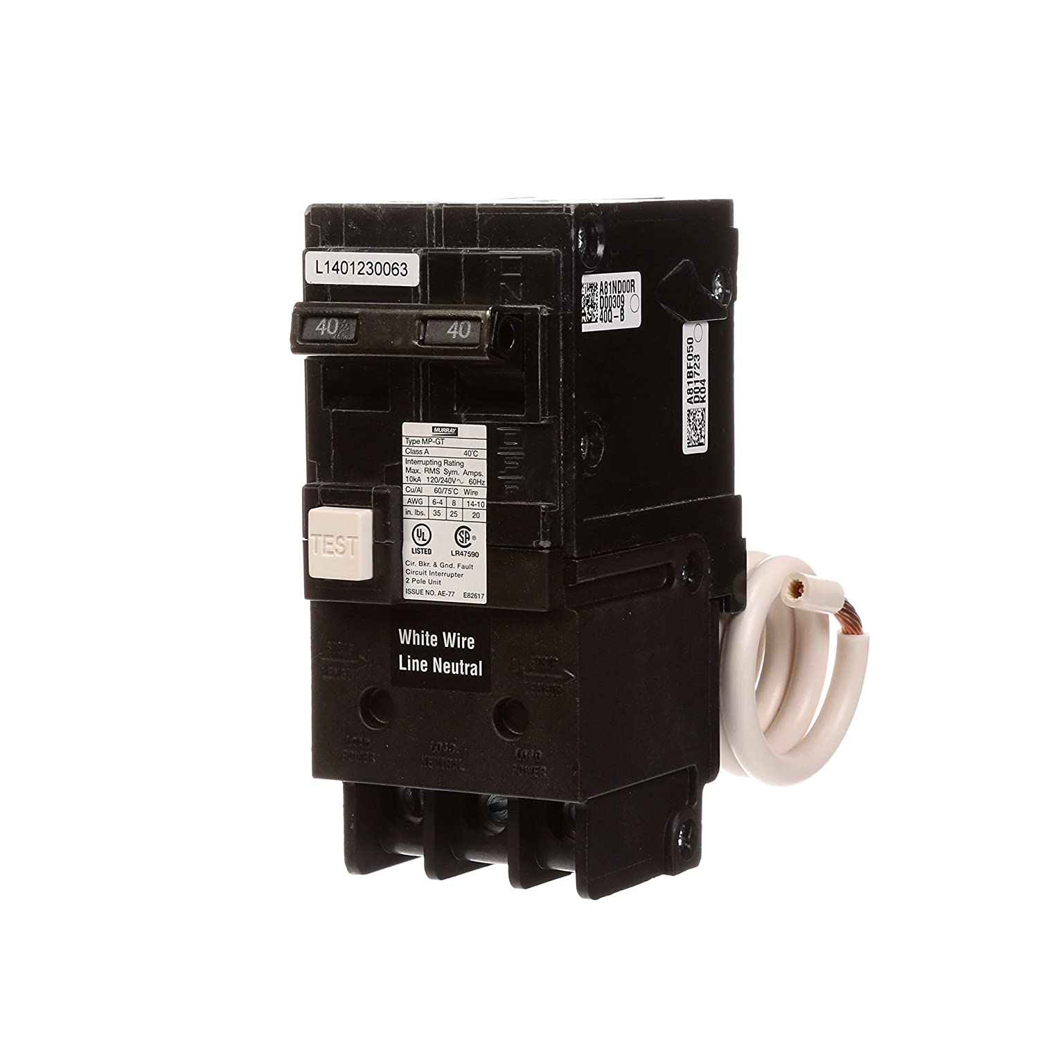 Murray MP240GFA 40 Amp 2-Pole Gfci Circuit Breaker with Self Test & Lockout Feature Siemens