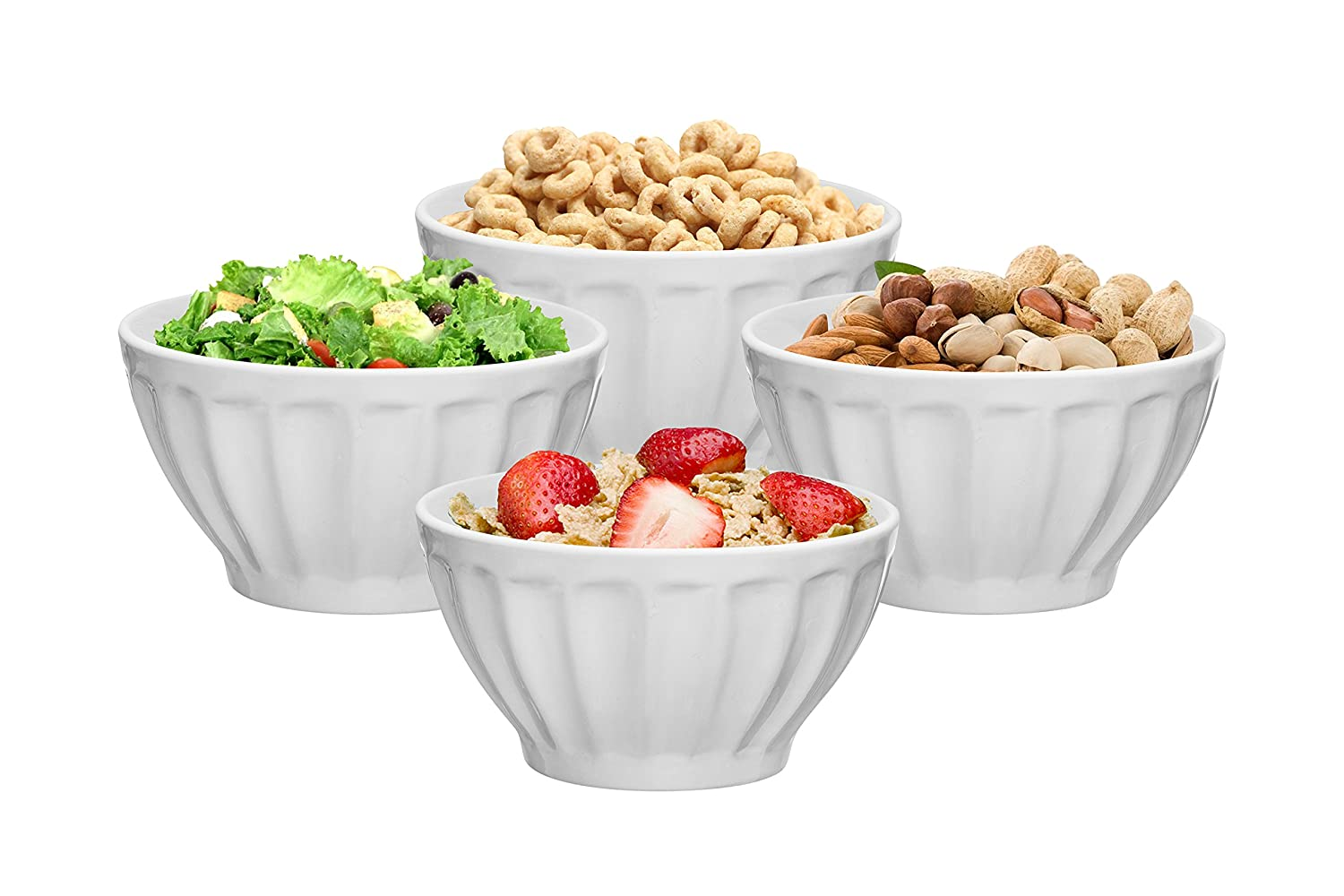 Ceramic Groove Bowls - Cereal, Soup, Ice Cream, 20 oz. Set of 4, by Bruntmor (White) BR3797