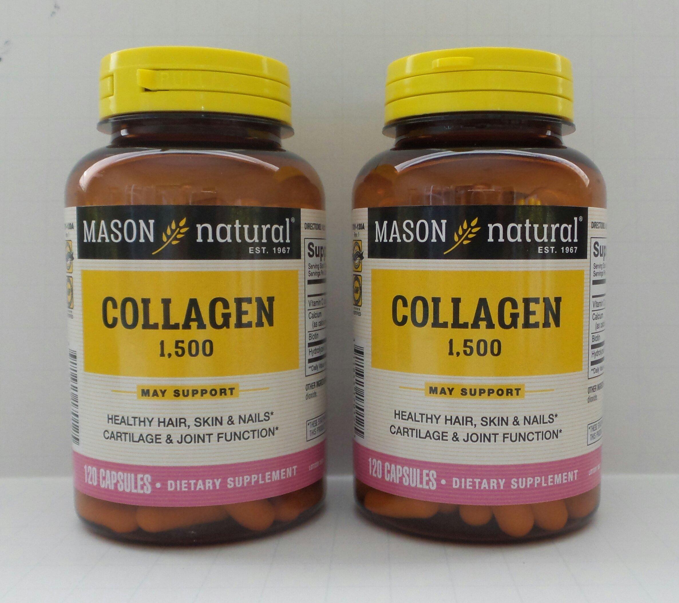 Mason Natural Collagen plus Vitamin C, 1500 mg, 120 Capsules (Pack of 2) by Mason Natural
