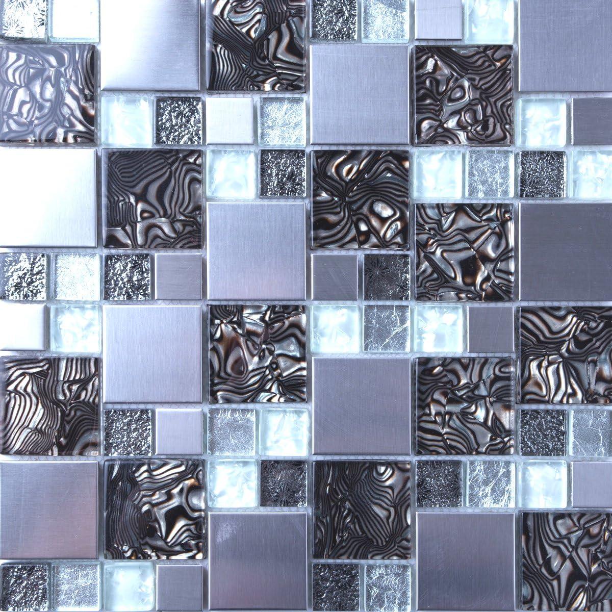 MT0164 30cm x 30cm Matte Glas und Geb/ürstet Edelstahl Mosaik Wand Fliesen Blatt Silber und Schwarz