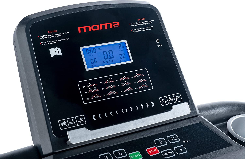 4 in den Lenker integrierte Herzsensoren schwarz Normal Moma Bikes Unisex-Adult Indoor Laufband 1500W