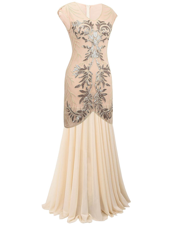 Amazon.com: PrettyGuide Women 1920s Black Sequin Flapper Long Gown Formal Cocktail Dress XL Champagne: Clothing