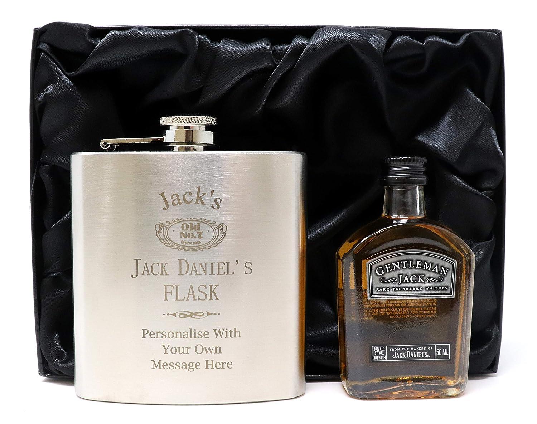 Jack Daniels Design* Silver Hip Flask /& Miniature Bottle in Silk Gift Box Engraved//Personalised Gentleman Jack