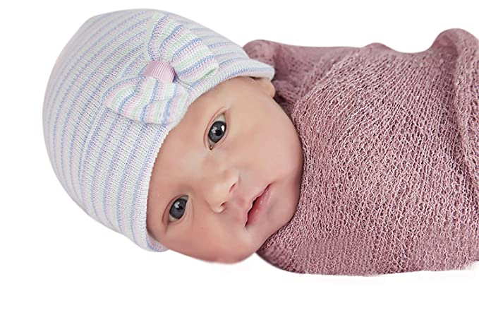 88f29aec832 Image Unavailable. Image not available for. Color  Melondipity s Multi  Striped Newborn Girl Hospital Hat ...