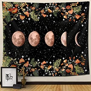 """Moon Phase Tapestry Pretty Moonlit Garden Plant Flower Tapestry Moon Cycle Cute Floral Vine with Star Tapestry Vertical Wall Hanging for Bedroom Dorm Room Size 50"""" x 60"""""""