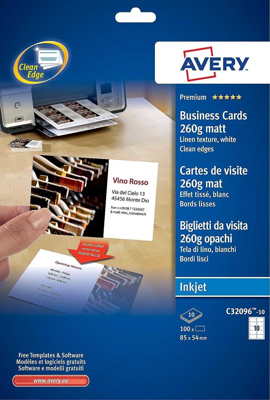 Avery Italia C32096-10 Biglietto da Visita in Tela di Lino, 8 Biglietti per Foglio, Confezione da 10 Pezzi, Bianco C32096-10E