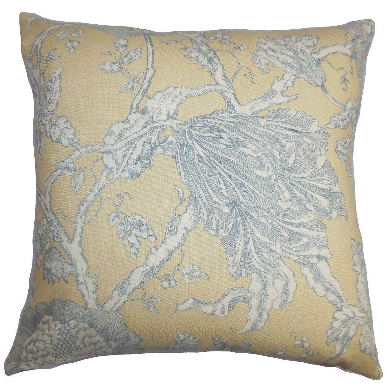 The Pillow Collection Panthea Floral Bedding Sham Natural Gray European//26 x 26,