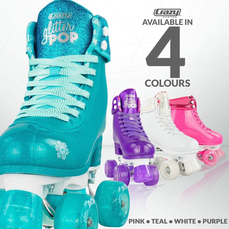 Crazy Skates Glitter POP Adjustable Roller Skates for Girls and Boys   Size Adjustable Quad Skates That Fit 4 Shoe Sizes   Teal (Sizes jr12-2) by Crazy Skates (Image #4)