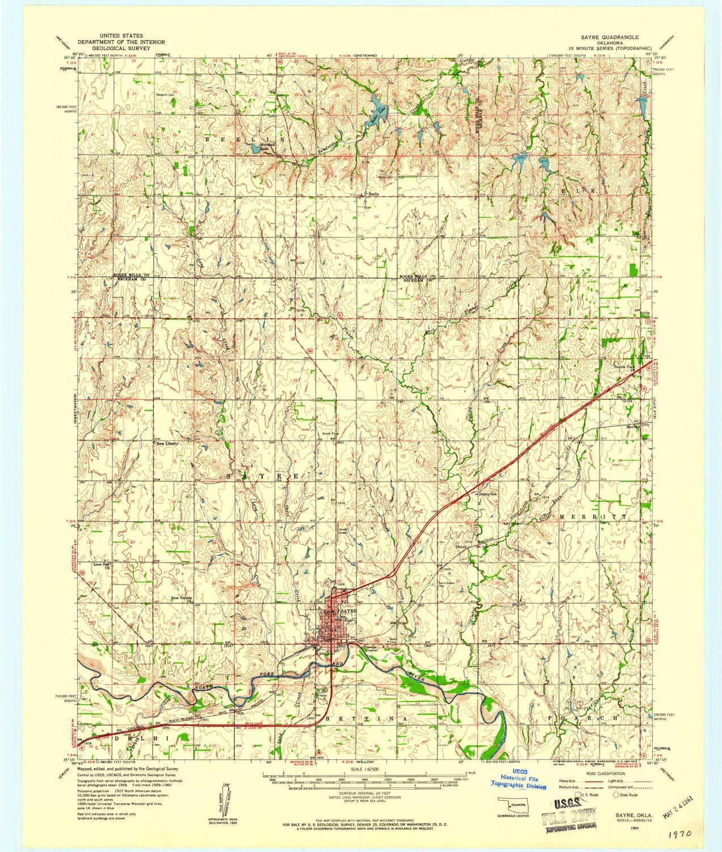 Amazon.com : YellowMaps Sayre OK topo map, 1:62500 Scale, 15 ...