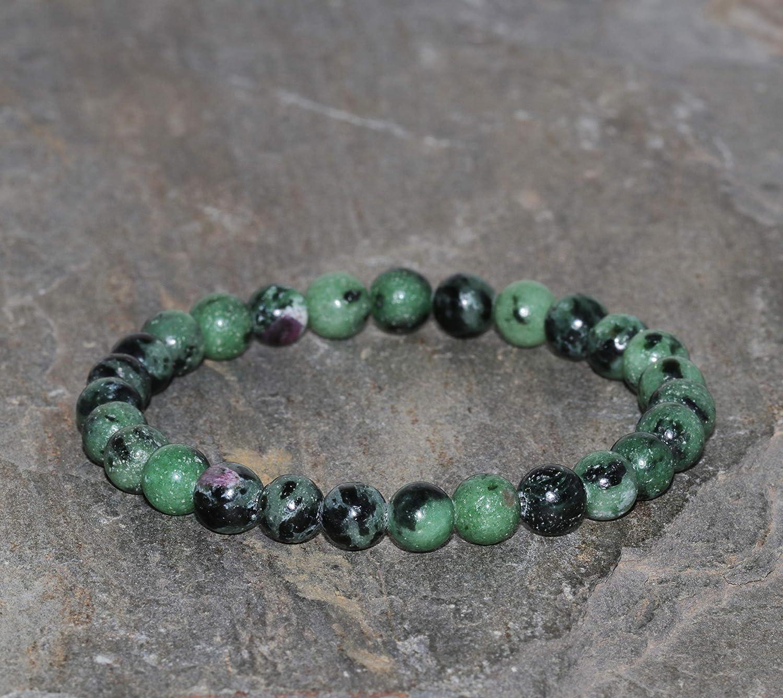 Brazalete Pulsera de piedra preciosa Zoisita con Rubí de 6 mm variedad Anyolita hecho a mano pulsera de cuentas de piedras preciosas verdes Pulsera de Zoisita con Rubíes