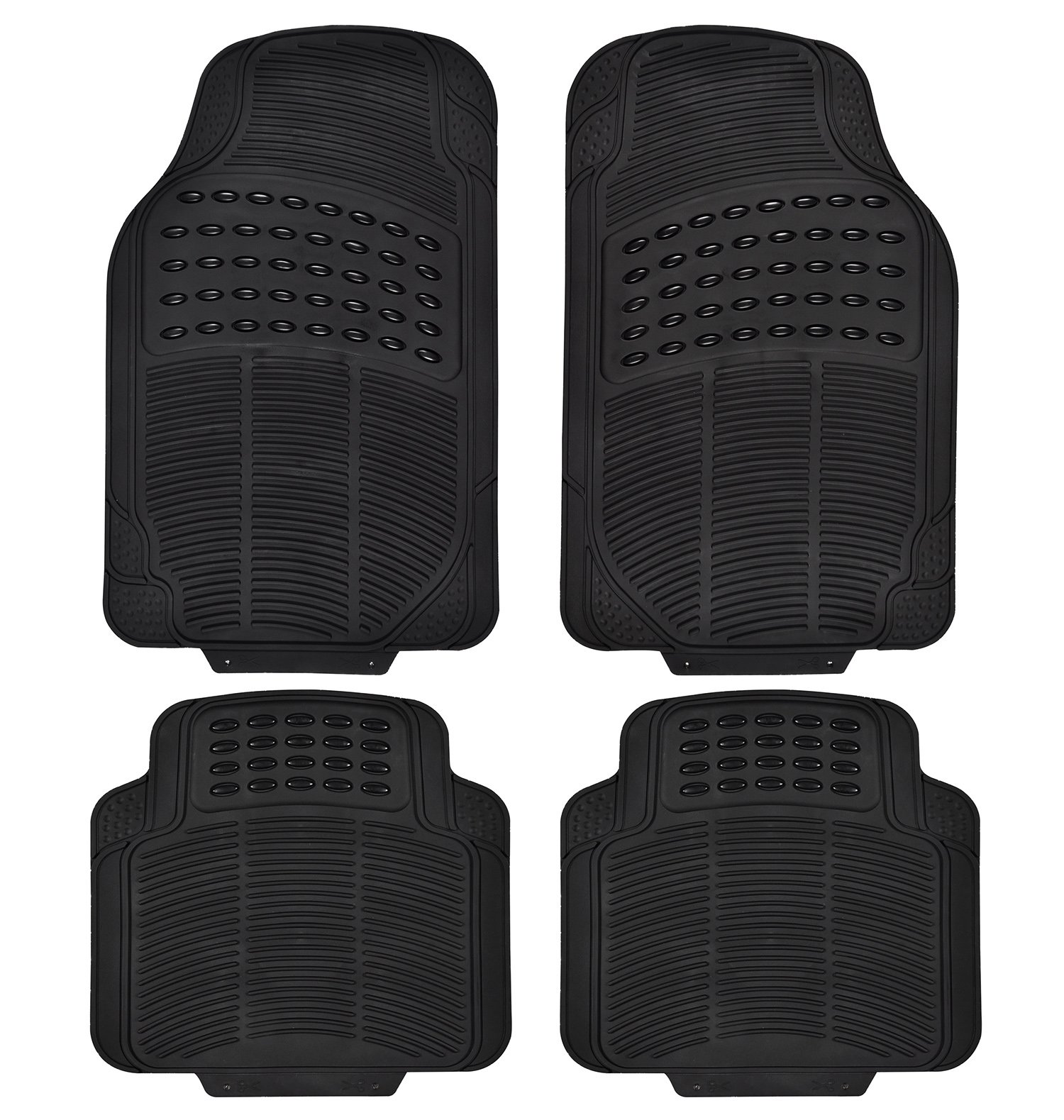 Car Floor Mats Heavy Duty Rubber Floor Mats 4pc All Weather Protection Universal Car Truck Suv Black