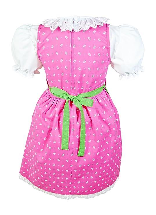 NEU Babydirndl Kinderdirndl dunkelblau rosa 100/% BW 4-teilig Top Qualität