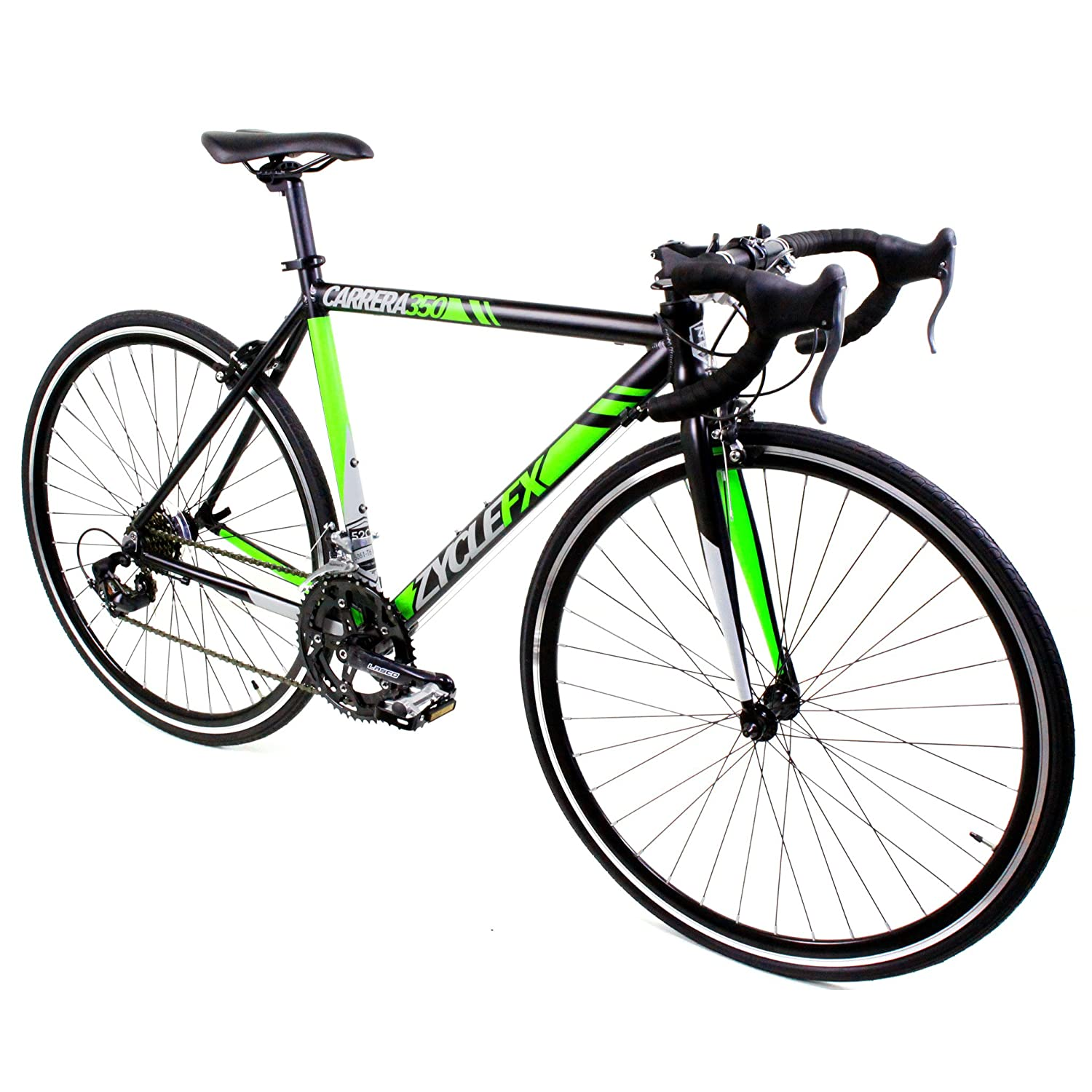 Zycle Fix Carrera 350 Road Bike Matte Black Lime