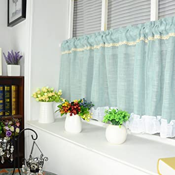 Cotton Linen Cafe Curtain Kitchen Valance Short Net Curtains