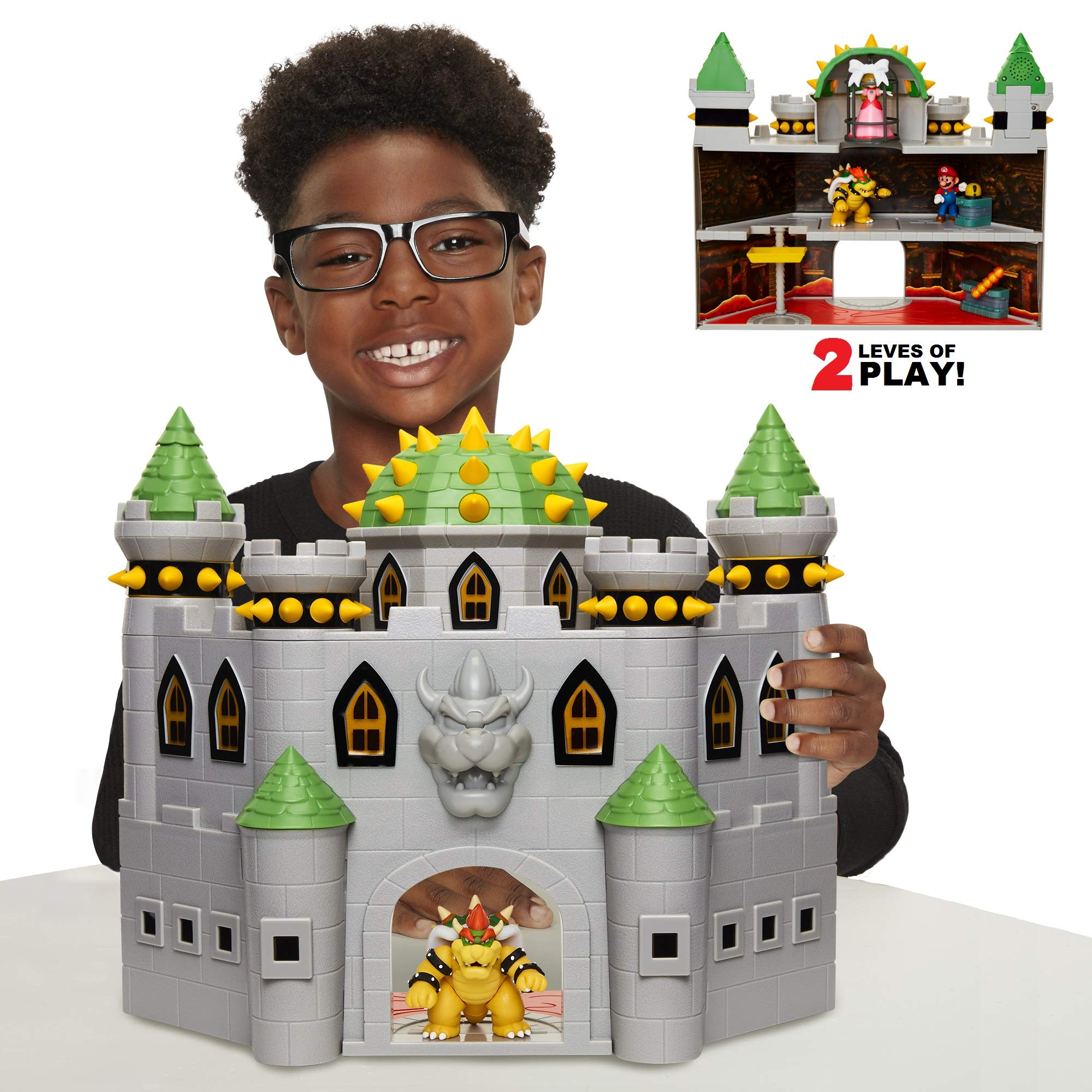 Nintendo Bowser's Castle Super Mario Deluxe Bowser's Castle Playset with 2.5'' Bowser Action Figure, Includes Interactivepiece & Authentic in-Game Sounds!