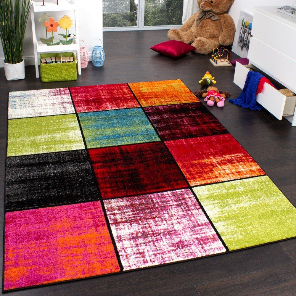 Paco Home Teppich Kinderzimmer Karo Kinderteppich Mehrfarbig Meliert Rot Pink Grün Blau, Grösse:160x220 cm