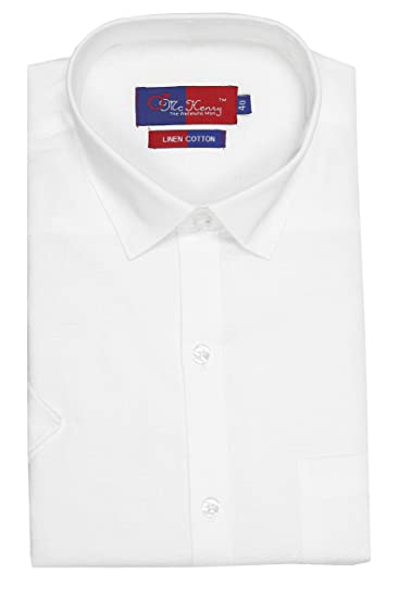 7b88cd930 McHenry Mens Solid Formal Regular Fit Half Sleeves White Linen Cotton Shirt (HLCWHITE-39_Size
